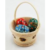 Яйцо пасхальное деревянное корзиночка с тремя пасхальными яйцами