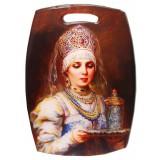 Посуда доска кухонная разделочная, Княгиня с фужером