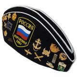 Головной убор Пилотка морская офицерская со значками