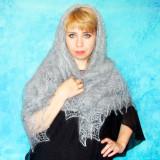 Платок Пуховый платок ручной работы светло серый, 1.30