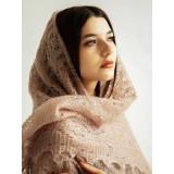 Платок Пуховый платок ручной работы светло коричневый, 1.30