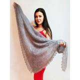 Платок Пуховый платок ручной работы серый, 1.30