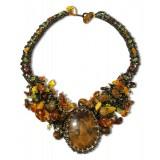 Янтарь колье 10219 натуральный янтарь, бисероплетение и камень...