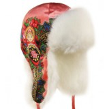 Головной убор шапка меховая Любава, розовая, с матрешкой