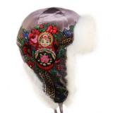 Головной убор шапка меховая Любава, лиловая, с матрешкой