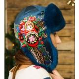Головной убор шапка меховая Любава, синяя, с матрешкой