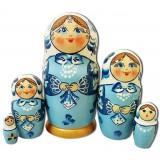Матрешка Сергиево Посадская 5 мест кружевной платок Голубая