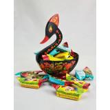 Хохлома сувенирная Конфетница Лебедь, 17х14х14