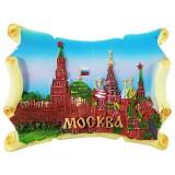 Магнит полистоун 022-02-20 Москва, коллаж, керамический свиток