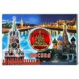 Магнит металлический 02-3-19R-19K13 коллаж Храм Василия Блаженного...