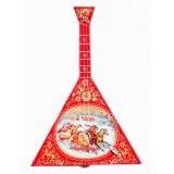 Музыкальный инструмент балалайка Тройка (красная), музыкальная...