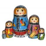 Матрешка Сергиево Посадская 5 мест Мальчик со снегирем