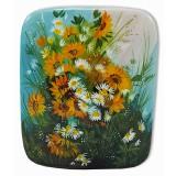 Шкатулка лаковая Федоскино Букет цветов, Подсолнухи с ромашками