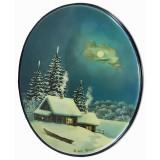 Шкатулка лаковая Федоскино Зима, овал вертикальный, Пейзажи России