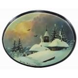 Шкатулка лаковая Федоскино Зима, овал горизонтальный, Пейзажи России