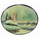 Шкатулка лаковая Федоскино Зимний Пейзаж, горизонтальная, овал.