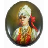 Шкатулка лаковая Федоскино Боярыня с лентой в волосах.
