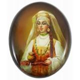 Шкатулка лаковая Федоскино Боярыня с чаркой меда.