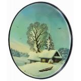 Шкатулка лаковая Федоскино Пейзаж зимний, овал вертикальный.