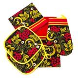 Текстиль набор Хохлома, 5 предметов, полотенце 2 шт., фартук,...