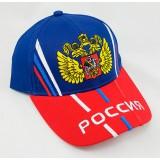 Головной убор Бейсболка Герб России, синий верх,красный козырек