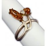 Янтарь кольцо Зайчик