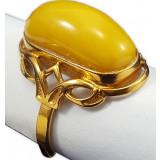 Янтарь кольцо Золотой цветок