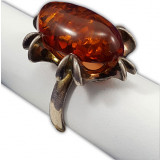 Янтарь кольцо Красный пурпур