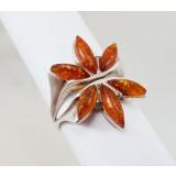 Янтарь кольцо Красный цветок