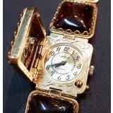 Часы женские, Чайка, янтарный браслет с крышкой
