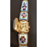 Часы Чайка, женские, финифть с крышкой