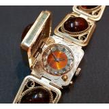Часы женские, Чайка, браслет с крышкой, янтарь и скань