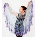 Платок Пуховый платок ручной работы Пелерина, фиолетово-белая