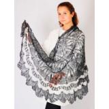 Платок Пуховый платок ручной работы Пелерина, серебристо-белая