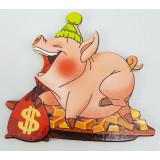 Магнит деревянный свинья и слитки золота