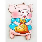Магнит деревянный свинья с мешком денег, символ 2019 года!