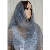 Платок Пуховый платок ручной работы паутинка, светло серый, 130 x...