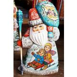 Новый Год и Рождество резная деревянная игрушка Дед Мороз мал,...