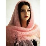 Платок Пуховый платок ручной работы паутинка розовая, 120 x 120