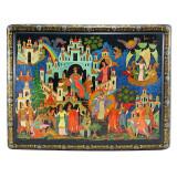 Шкатулка лаковая Палех Сказка о Царе Салтане, 35x20x10