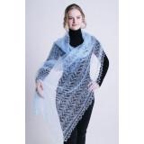 Платок Пуховый платок ручной работы палантин ажурный, голубой,...