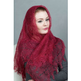 Платок Пуховый платок ручной работы паутинка бордовая, 120 х 120