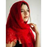 Платок Пуховый платок ручной работы паутинка красная, 120 х 120
