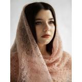 Платок Пуховый платок ручной работы паутинка бежевая, 120 х 120