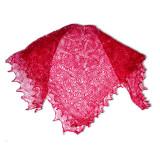 Платок Пуховый платок ручной работы паутинка малиновая, 130 х 130