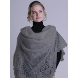 Платок Пуховый платок ручной работы классический, светло серый, 1.30