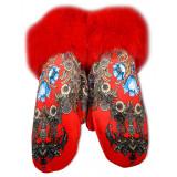 Одежда варежки женские, красные, павловопосадский стиль
