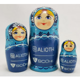 Матрешка по заказу клиента 3 места 13 см, с логотипом ALIOTH