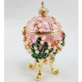 Копия Фаберже 1979-003 яйцо шкатулка, розовое, 12