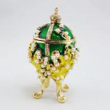 Копия Фаберже 2987-004 яйцо шкатулка, зеленое, 8